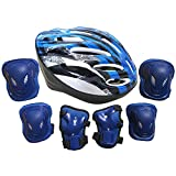 Dreamyth 7pcs Adults Unisex Women Men Self Balancing Scooters Bike Roller Knee Elbow Wrist Helmet Pad Adjustable Protective Gear Kit Sets (Blue)