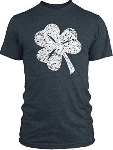 Vintage Shamrock Tri Blend (Big Texas Distressed Shamrock (White) Vintage Tri-Blend T-Shirt, Vintage Navy,)