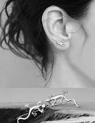 Handmade Sterling silver Lizard Ear cuffs, Ear Climber Nickel free, PAIR, Length 22mm 0.86 inches - Free Lizard