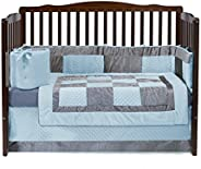 Baby Doll Bedding Croco Minky Crib Set, Blue/Grey