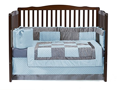Baby Doll Bedding  Croco Minky Crib Set, Blue/Grey ()