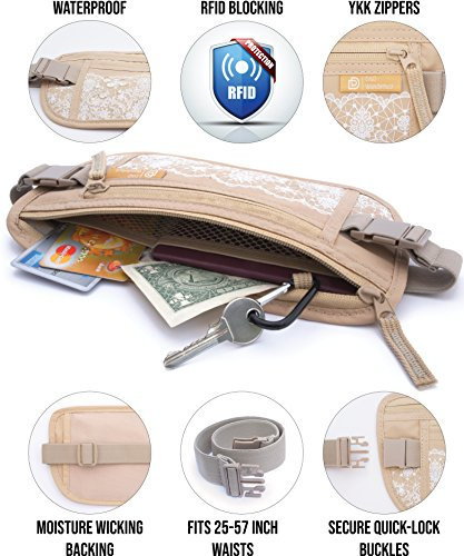 D&D RFID Blocking Money Belt for Travel - Waterproof Hidden Travel Wallet Waist Pouch for Men and Women – Free eBook by D&D Products (Image #4)