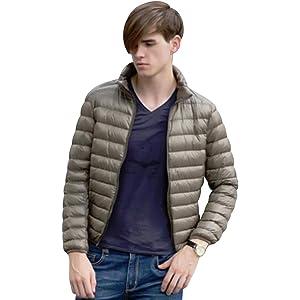 [ライズオンフリーク] 男 メンズダウン コート ジャケット ジッパー デザイン シンプル 防寒着 ワイド ゆったり 大きめ 体型隠し 体型カバー カーディガン 着痩せ 細身 二の腕 ウエスト ウェスト ヒップ 体型 カバー uv カット 太め 裏起毛 裏ボア 重ね着 レイヤード あたたかい 暖かい 防寒 GO-39 (12 カーキXXL)