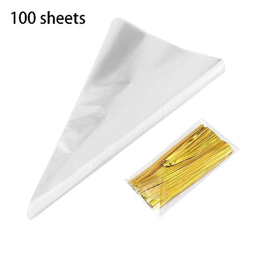 Vvciic Bolsas de Cono Transparente de 100 Piezas Triángulo con Bolsa de Regalo de celofán con 100 Lazos de Oro para la Fiesta de Bodas y Fiestas