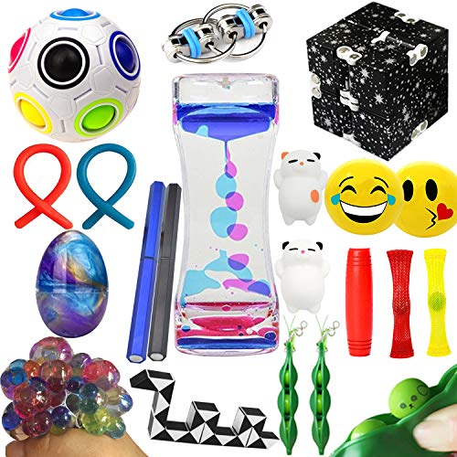(The Ultimate Sensory Fidget Toys Kit Prime 20 Packs Fidget Cube/Slime/Infinity Cube/Twisted Toy/Liquid Motion Bubbler/Squeeze Bean/Rainbow Magic Balls for Kids&Adult Add ADHD Stress Relax)