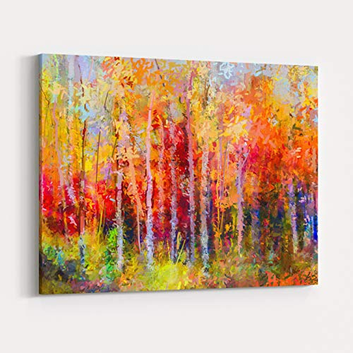 Rosenberry Rooms Canvas Wall Art Prints - Oil Painting Landscape, Colorful Autumn Trees Semi Abstract Paintings Image of Forest, Aspen Tree with Yellow, Red Leaf Fall Season Nature (18 x 12 inches) ()