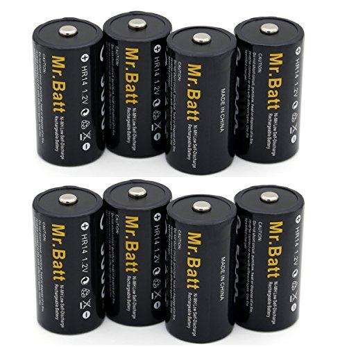 Mr.Batt C Size Rechargeable Batteries, NiMh C Cell High Capacity 5000mAh (8 Pack)