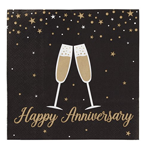 Cocktail Napkins - 150-Pack Luncheon Napkins, Disposable Paper Napkins Happy Anniversary Party Supplies, 3-Ply, Unfolded 13 x 13 inches, Folded 6.5 x 6.5 inches