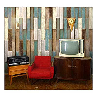 Fascinating Artistry, Vertical Retro Earthy Colored Wood Textured Paneling Pattern Wall Mural Removable Wallpaper, Made For You