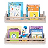 Brightmaison Handcrafted Wall Mount 24 Inch Rustic Children's Floating Book Shelves Made of Pine Wood Set of 2 in Vintage White