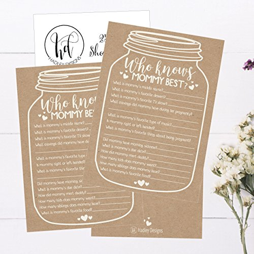 25 Rustic Mason Jar Baby Shower Games Ideas for Boys Or Girls, Fun Party Activities Who Knows Mommy Best Gender Neutral Reveal New Parent Guessing Funny Questions Pack Kids, Mom, Dad and Coed Couples by Hadley Designs (Image #3)