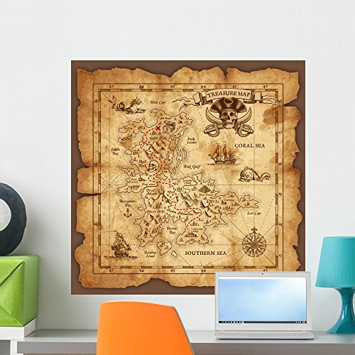 Wallmonkeys Vector Pirate Treasure Map Wall Mural Peel and Stick Decals for Boys (24 in H x 24 in W) WM373415