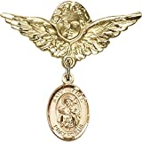 14kt Yellow Gold Baby Badge with St. James the Greater Charm and Angel w/Wings Badge Pin 1 1/8 X 1 1/8 inches