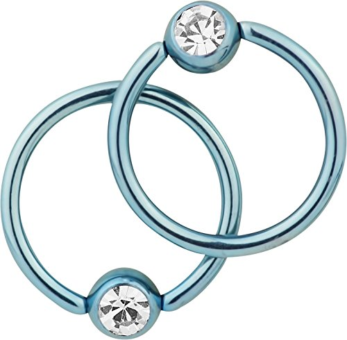 Pair of 2: 14g 1/2 Inch Surgical Steel Light Blue IP Plated Jeweled Captive Bead CBR Hoop Earrings