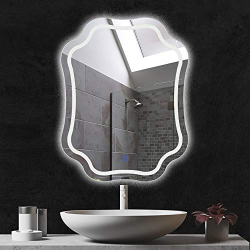 YANGMAN-L LED Lighted Bathroom Mirror Wall Mounted Energy Efficient Illuminated Anti-Fog Flower -