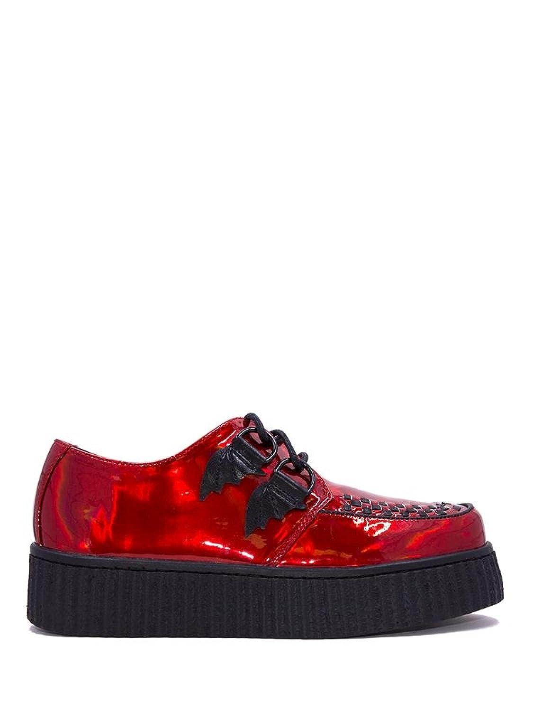 Y.R.U. Womens Strange Cvlt Krypt x Ash Costello Red Hologram Bat Platform Sneaker B07DTJ65QZ 7 B(M) US
