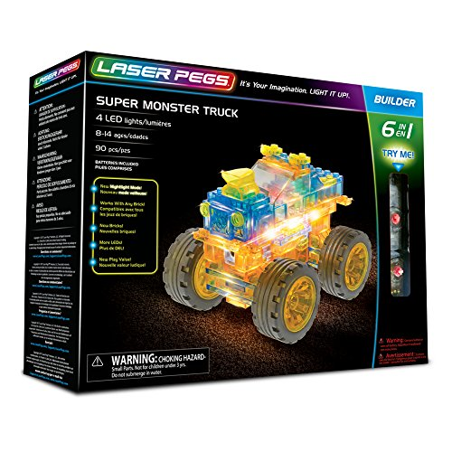 Laser Pegs 61010 Super Monster Truck 6-in-1 Building Set; The First Lighted Construction Toy to Ignite Your Child's Creativity; It's Your Imagination, Light It Up