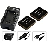 4in1Set 3-in-1per Panasonic Lumix Lx15/Lx15–-- 2batterie per DMW-BLH7–Batteria + caricatore 4in 1(con USB/Micro-USB e da auto/auto) con PATONA Displaypad