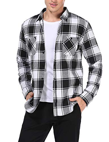 TIESOME Plaid Shirts for Men Checked Long Sleeve Button Down Flannel Shirt (61 Black, L)
