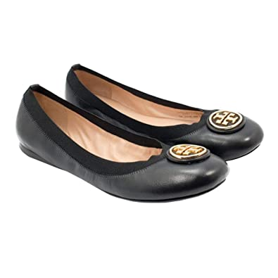24093d4f2e27 Tory Burch Womens Caroline 2 Ballet Nellie Nappa Vegan Leather Flats Black  001 (US