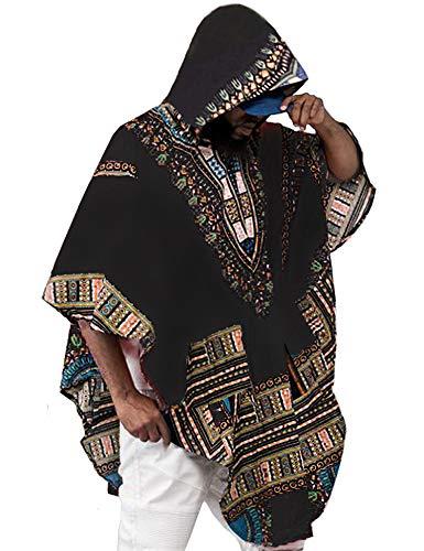 (Daupanzees Mens African Tribal Dashiki Floral T Shirt Blouse Tops Short Sleeve Long Hooded Cloak Cape Black)