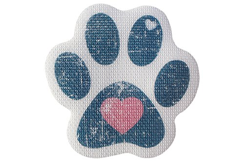 SlipRx USA Nonslip Bathtub Stickers Safety Adhesive Paw Print Treads | Large Decal Surface Area Shower Grip - 4 Diameter Applique (Blue Heart)