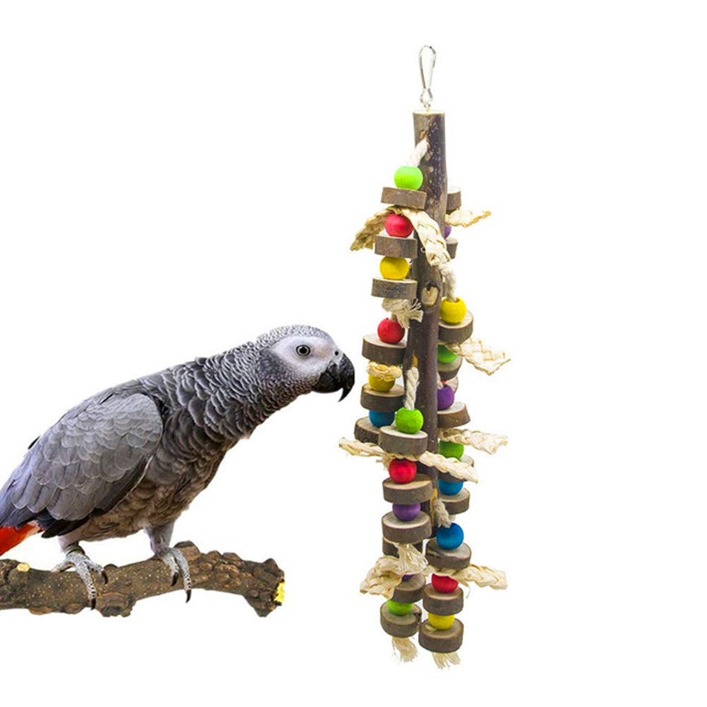 XinC Parrot Toy Bird Toy Belt Leather Log Hanging String Bite String String Bite Climbing Toy Colorful Entertainment Chew Toy by XinC