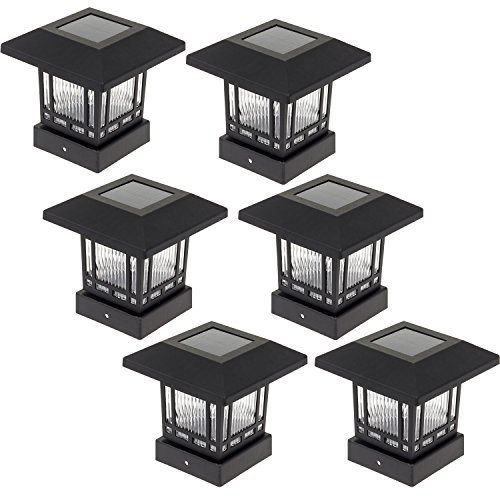 solar 20 lumens 4x4 post light for wood posts black 6 pack