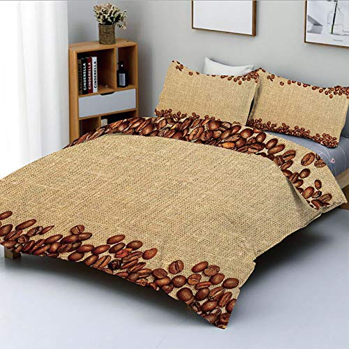 Duplex Print Duvet Cover Set Queen Size,Coffee Beans Backround Home and Cafe Designer Decoration Collection StrawDecorative 3 Piece Bedding Set with 2 Pillow Sham,Brown Cream,Best Gift For Kids & Adul