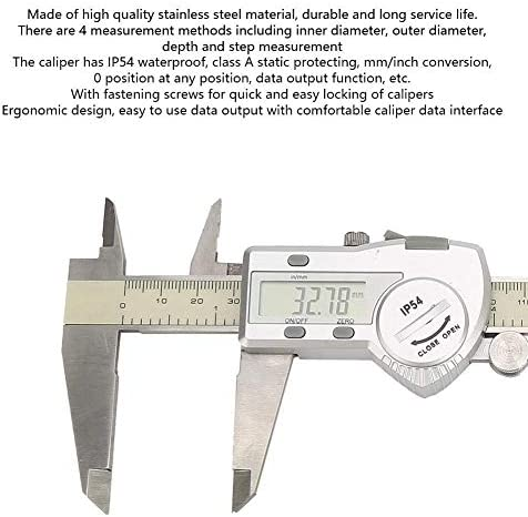 1yess Electronic Digital Caliper, Waterproof High Accuracy Stainless Steel Digital Caliper with Display Set Home Improvement Measuring Tool for Household Worker(0-200mm)