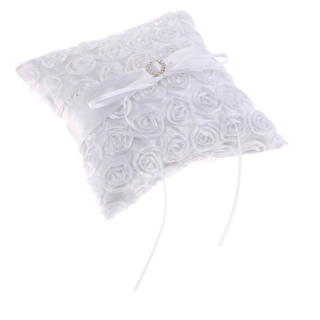 SM SunniMix Fashion White Heart Rhinestone Roses Ring Pillow Wedding Ceremony Party Supplier 8 x 8 Inch