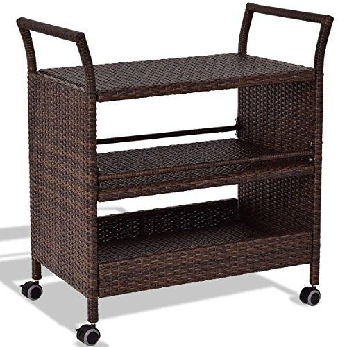 Rattan Rolling Serving Cart Storage Shelves Rack Wood Wine ()