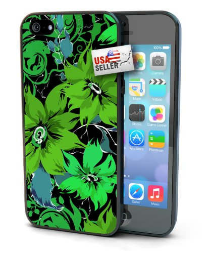 Green Flowers Design Black Plastic Cover Case for iPhone 4 or 4s