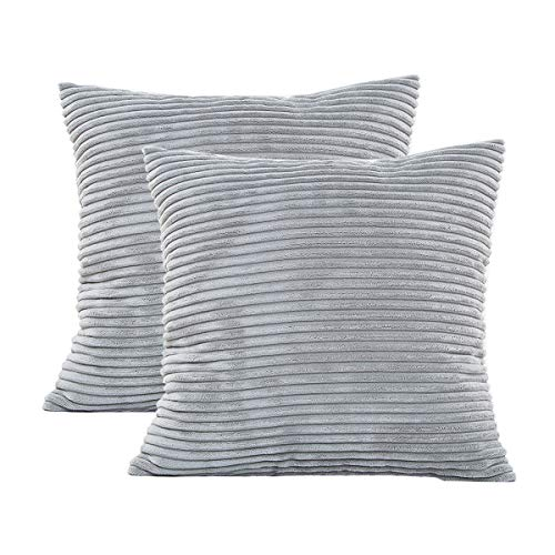 GreatforU Decor Pillow Covers Soft Decorative Striped Corduroy Velvet Square Throw Pillow Sofa Cushion Covers Set, Bedroom, Living Room, Office Bench Car Settee Couch, 2 Pack, 18x18 inch (45cm) Grey