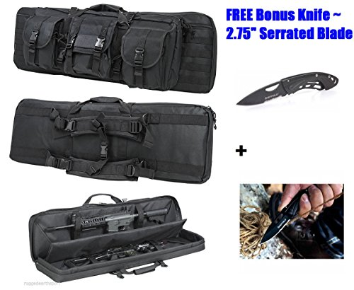 Gun-Case-BACKPACK-Tactical-36-Rifle-Shotgun-Bag-Soft-Case-Double-Carbine-Ammo-Pouches-Pockets-MOLLE-Strap-Type-System-LOTS-of-STORAGE-Plus-FREE-GIFT-Folding-Knife-with-275-Blade-Four-4-Colors-BLACK-DI