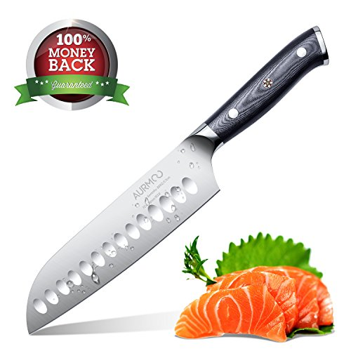 Santoku Knife 7.5 Inch, Kitchen Knife Japanese Chef Knife Hollow Edge Stainless Steel with G10 Handle for Kitchen and Restaurant - Edge Santoku Chefs Knife