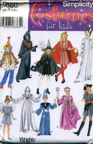 Simplicity 4860 - Costume Pattern Children Clown, Witch, Wizard, Pirate, Riding Hood, More (Clown Costume Patterns)