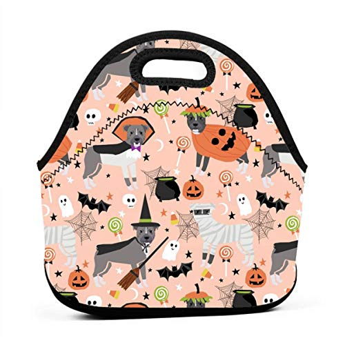 Pitbull Halloween Costume Dog Vampire Ghost Mummy Peach Lunch Bag Insulated Thermal Lunch Tote Outdoor Travel Picnic Carry Case Lunchbox Handbags with -