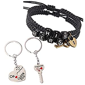 2 Pairs of Couples Key Lock Keychains,Handmade His and Hers,King Queen Bracelet for Valentines Day Gifts