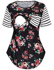 Goddesslili Nursing Tops Maternity Shirts Gorgeous Floral Ruched Flattering Sides Short Long Sleeve Breastfeeding Blouses
