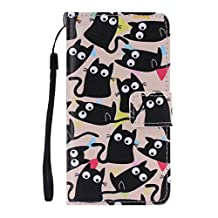 QHYT Phone Case for Samsung Galaxy A5 (2015) / Samsung Galaxy A500, Flip Cover with Handle Strap Wallet Phone Case with Card Slot, , Black Cats with Goggle Eyes