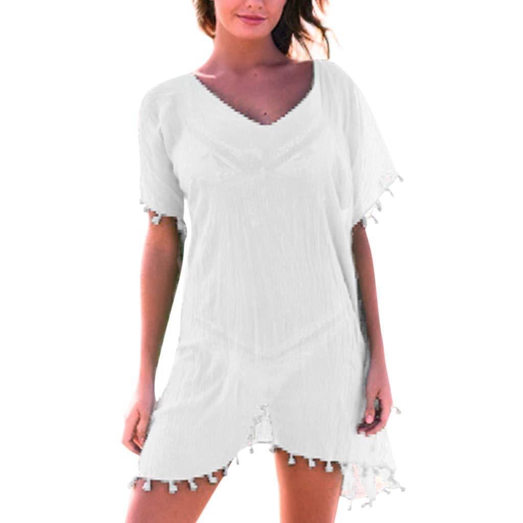 Dresses KULICAT Women Boho Beach Solid Patchwork Holiday Chiffon Dress