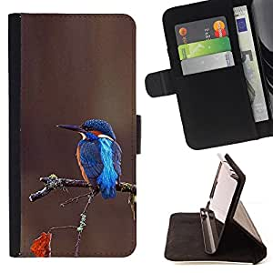 Jordan Colourful Shop - Songbird Tropical Brown Blue Branch For HTC One M9 - Leather Case Absorci???¡¯???€????€?????????&A
