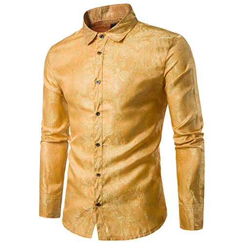Mens Casual Retro Paisley Print Slim Fit Long Sleeve Button Down Dress Shirt Blouse Top Xmas (Yellow, M)