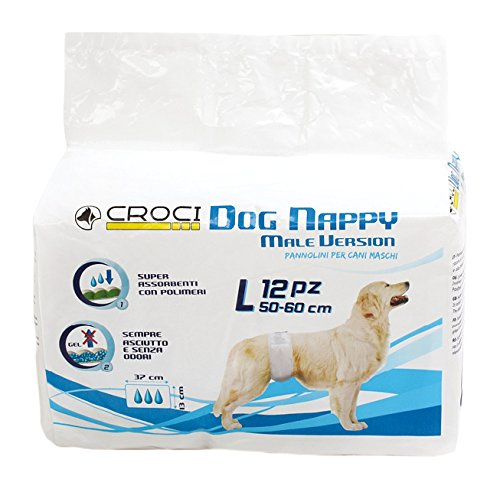 CROCI Nappy Wrap for Male Dog, Large, 50-60 cm, 12-Piece