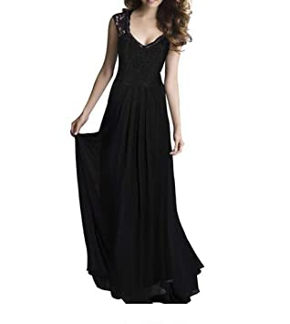 Vestidos de dama de honor de gasa de encaje largo de las mujeres vestido de noche