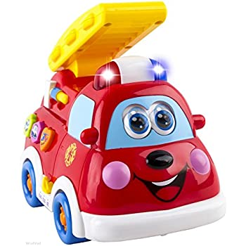 WolVol Cute Mini Electric Fire Truck Toy with Lights and Sirens, Moves around on its own, Talks and Teaches, English and Spanish Settings (can turn off the sounds while in action)
