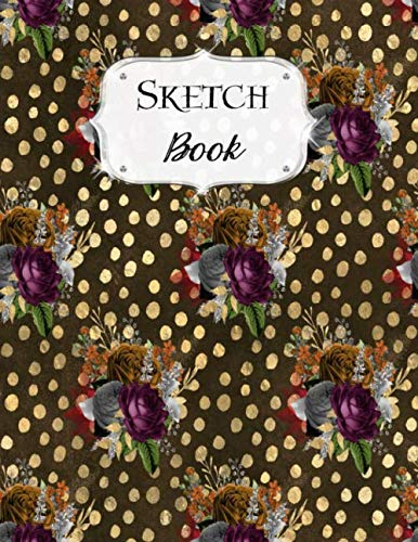 Sketch Book: Flower | Sketchbook | Scetchpad for Drawing or Doodling | Notebook Pad for Creative Artists | Brown Gold Polka Dot