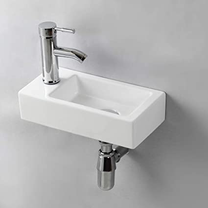 Gimify Small Cloakroom Basin Sink Wall Hung Mini Hand Wash Basin For Toilet Bathroom Left Hand
