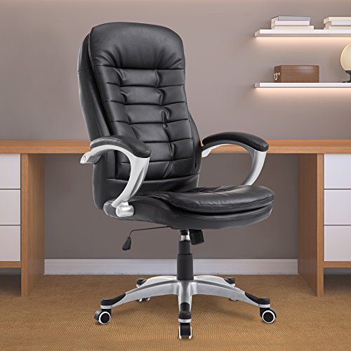 Acepro Office Chair Desk Chair Computer Gaming Chair High Back Leather Office Desk Chairs Adjustable Executive Chair PU Leather, Black by Cloud Mountain